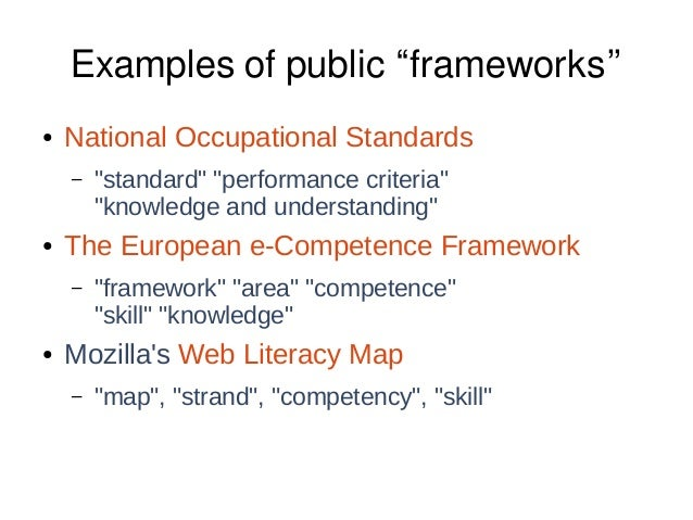 """Examples of public """"frameworks"""" ● National Occupational Standards – """"standard"""" """"performance criteria"""" """"knowledge and under..."""