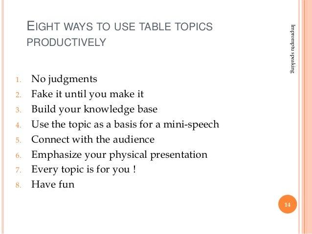 topics to get extemporaneous speech