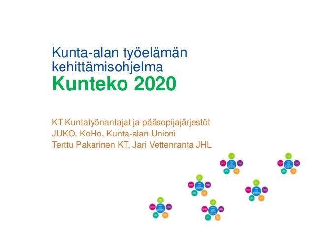 Kunta-alan työelämän kehittämisohjelma Kunteko 2020 KT Kuntatyönantajat ja pääsopijajärjestöt JUKO, KoHo, Kunta-alan Union...