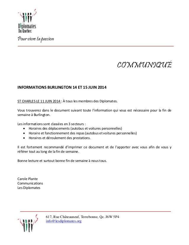 Pour vivre ta passion 617, Rue Châteauneuf, Terrebonne, Qc. J6W 5P4 info@lesdiplomates.org COMMUNIQUÉ INFORMATIONS BURLING...