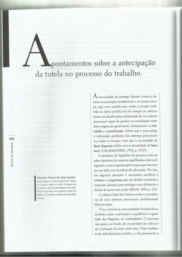 APONTAMENTOS SOBRE A ANTECIPAÇÃO DE TUTELA NO PROCESSO DO TRABALHO