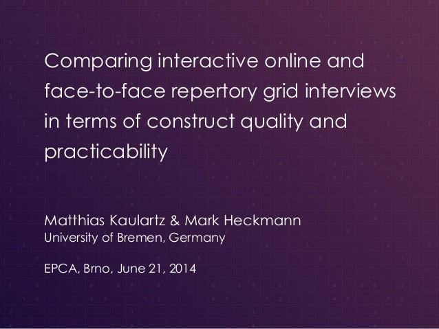Comparing interactive online and face-to-face repertory grid interviews in terms of construct quality and practicability M...