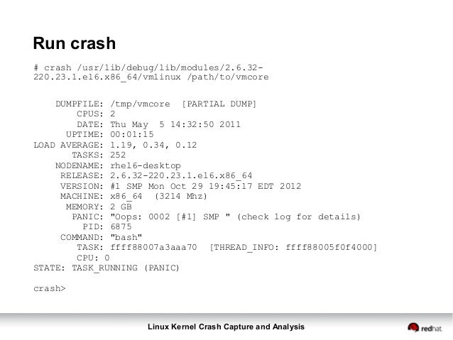 Linux Crash Dump Capture and Analysis