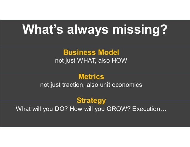 1.Problem 2.Solution 3.Business Model 4.Business Model Metrics 5.Growth Strategy 6.Status / Traction 7.Team 8.Competition ...