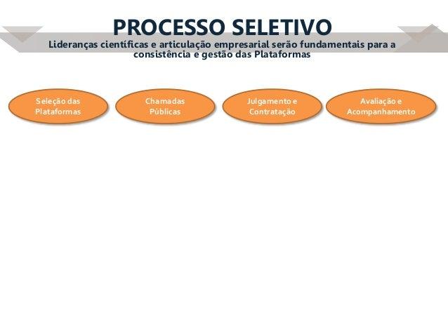 PROCESSO SELETIVO Lideranças científicas e articulação empresarial serão fundamentais para a consistência e gestão das Pla...