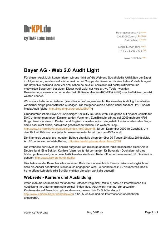 2014-06-Bayer-Social-Media-Audit-ROI.doc  DrKPI.de  CyTRAP Labs GmbH  Roentgenstrasse 49 Street  CH-8005 Zuerich Zip Code ...