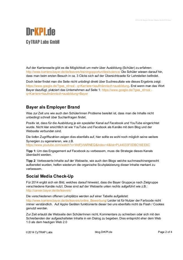 2014-06-Bayer-Social-Media-Audit-ROI.doc  DrKPI.de  CyTRAP Labs GmbH  Auf der Karriereseite gibt es die Möglichkeit um meh...