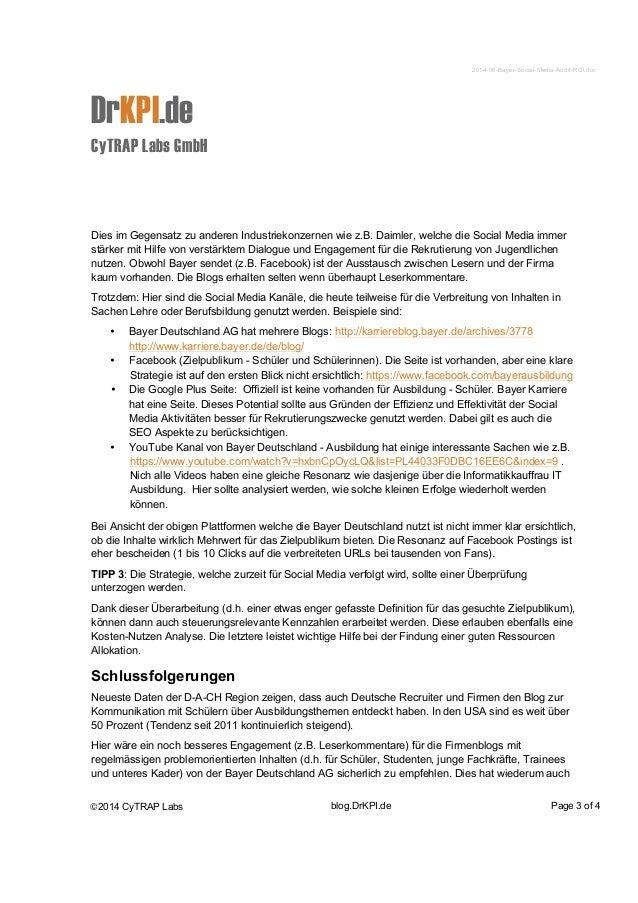 2014-06-Bayer-Social-Media-Audit-ROI.doc  DrKPI.de  CyTRAP Labs GmbH  Dies im Gegensatz zu anderen Industriekonzernen wie ...