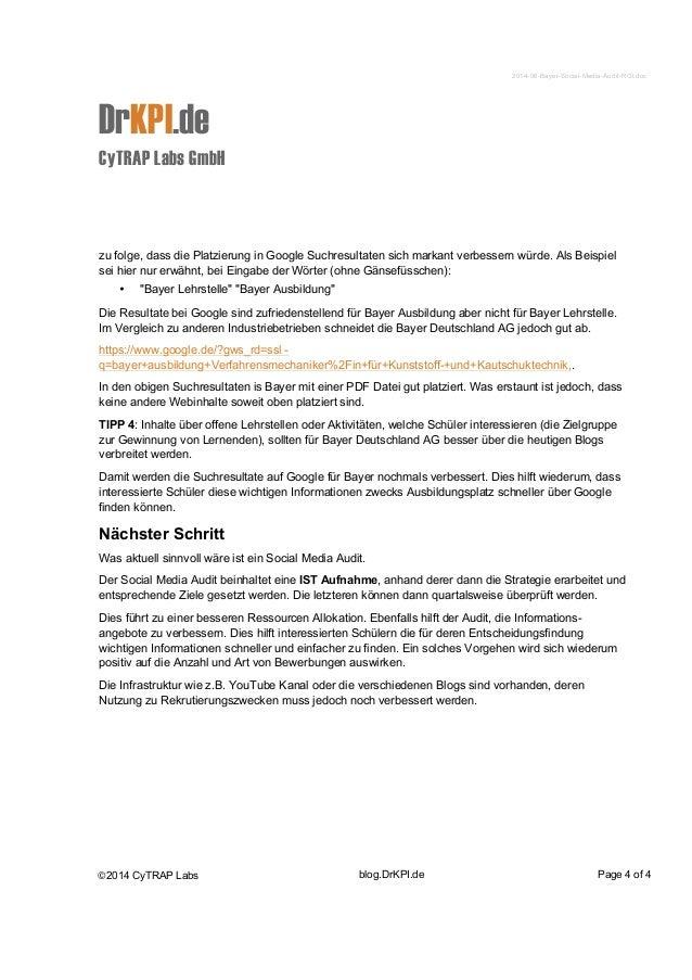 2014-06-Bayer-Social-Media-Audit-ROI.doc  DrKPI.de  CyTRAP Labs GmbH  zu folge, dass die Platzierung in Google Suchresulta...