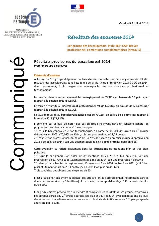 Rectorat de la Martinique - Les Hauts de Terreville 97279 Schoelcher cedex 1/7 Vendredi 4 juillet 2014 Résultats des exame...