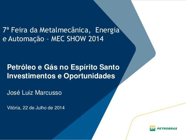 PLANO ESTRATÉGICO PETROBRAS 2030 7ª Feira da Metalmecânica, Energia e Automação – MEC SHOW 2014 Petróleo e Gás no Espírito...