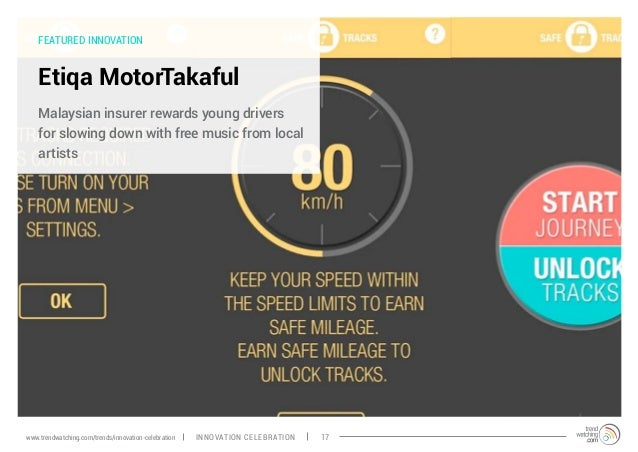 FEATURED INNOVATION Etiqa MotorTakaful Malaysian insurer rewards young drivers for slowing down with free music from local...