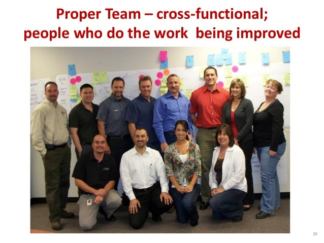 Proper Team – cross-functional; people who do the work being improved 29