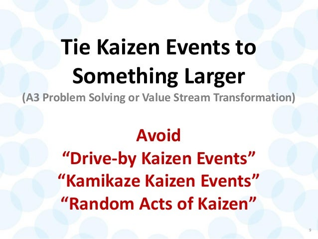 "Tie Kaizen Events to Something Larger (A3 Problem Solving or Value Stream Transformation) Avoid ""Drive-by Kaizen Events"" ""..."