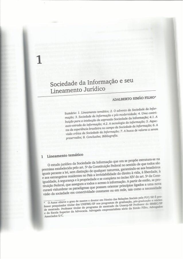 DIREITO NA SOCIEDADE DA INFORMAÇÃO - CAPITULO 1 - ADALBERTO SIMÃO FILHO