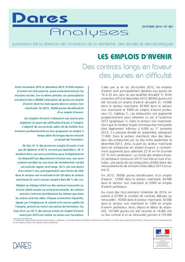 Dares  Analyses  Octobre 2014 • N° 081  publication de la direction de l'animation de la recherche, des études et des stat...