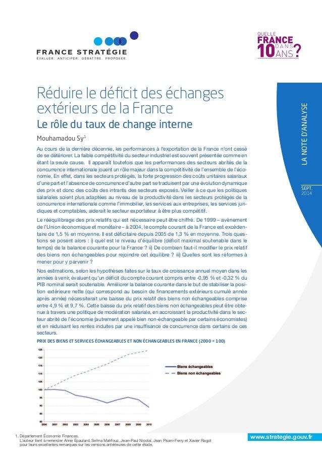 www.strategie.gouv.fr SEpT. 2014 Réduire le déficit des échanges extérieurs de la France Le rôle du taux de change interne ...