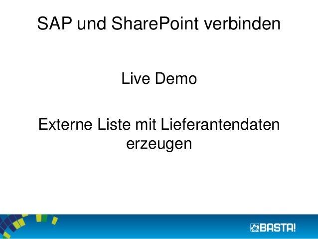 SAP und SharePoint verbinden  Live Demo  Externe Liste mit Lieferantendaten  erzeugen