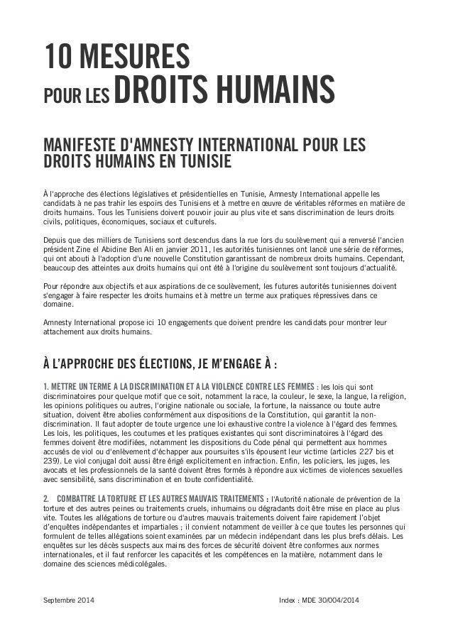 Septembre 2014 Index : MDE 30/004/2014  10 MESURES  POUR LES DROITS HUMAINS  MANIFESTE D'AMNESTY INTERNATIONAL POUR LES DR...