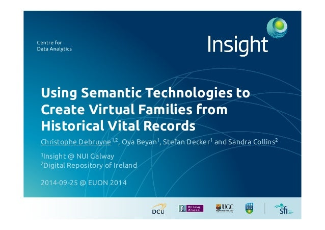 Using Semantic Technologies to  Create Virtual Families from  Historical Vital Records!  Christophe Debruyne1,2, Oya Beyan...