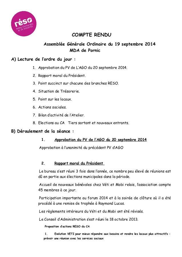 COMPTE RENDU Assemblée Générale Ordinaire du 19 septembre 2014 MDA de Pornic A) Lecture de l'ordre du jour : 1. Approbatio...