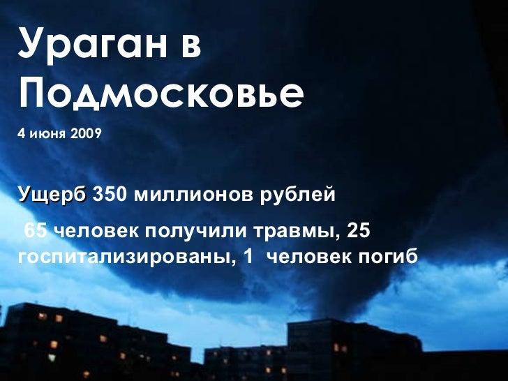 Ураган в Подмосковье 4 июня 2009  Ущерб  350 миллионов рублей 65 человек получили травмы, 25 госпитализированы, 1  человек...