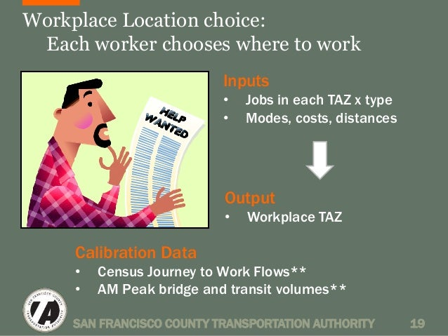Workplace Location choice:  Each worker chooses where to work  Inputs  • Jobs in each TAZ x type  • Modes, costs, distance...