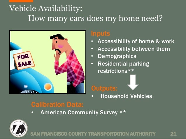 Vehicle Availability:  How many cars does my home need?  Inputs  • Accessibility of home & work  • Accessibility between t...
