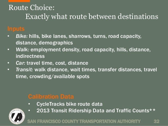 Route Choice:  Exactly what route between destinations  Inputs  • Bike: hills, bike lanes, sharrows, turns, road capacity,...