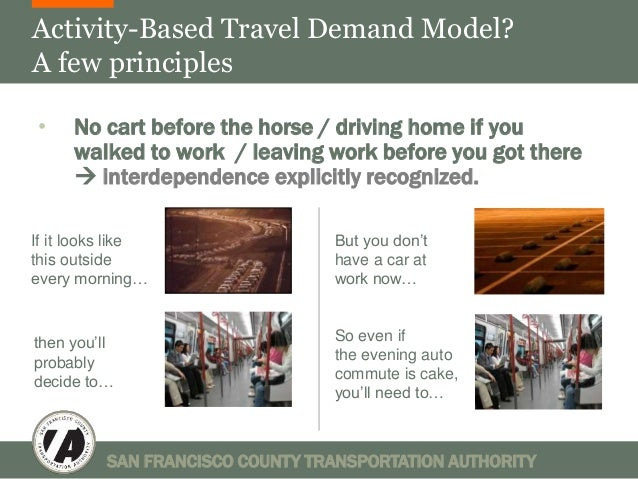 Activity-Based Travel Demand Model?  A few principles  • No cart before the horse / driving home if you  walked to work / ...
