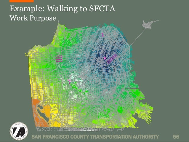 Example: Walking to SFCTA  Work Purpose  SAN FRANCISCO COUNTY TRANSPORTATION AUTHORITY 56
