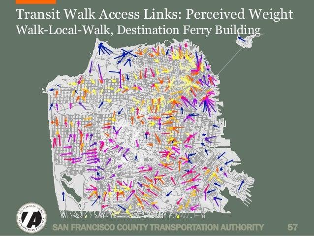 Transit Walk Access Links: Perceived Weight  Walk-Local-Walk, Destination Ferry Building  SAN FRANCISCO COUNTY TRANSPORTAT...