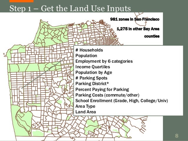 Step 1 – Get the Land Use Inputs  981 zones in San Francisco  1,275 in other Bay Area  counties  # Households  Population ...