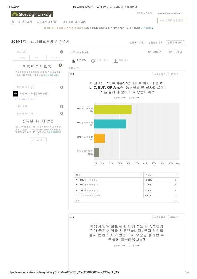 6/17/2014 SurveyMonkey분석 - 2014-1학기 전자회로설계 강의평가 https://ko.surveymonkey.com/analyze/QeuyZdJCe1na2FEuSfTn_2B4nO08T9DAOtemcj...