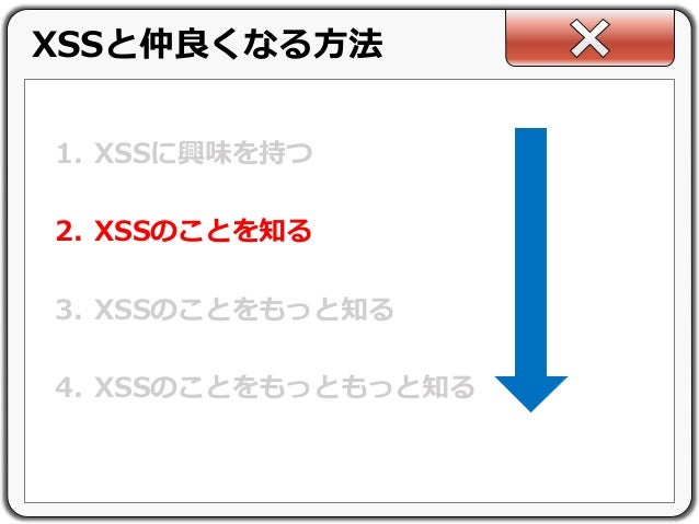 1. XSSに興味を持つ 2. XSSのことを知る 3. XSSのことをもっと知る 4. XSSのことをもっともっと知る XSSと仲良くなる方法