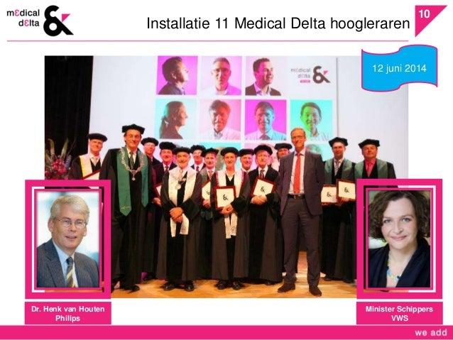 10  Installatie 11 Medical Delta hoogleraren  Dr. Henk van Houten  Philips  12 juni 2014  Minister Schippers  VWS