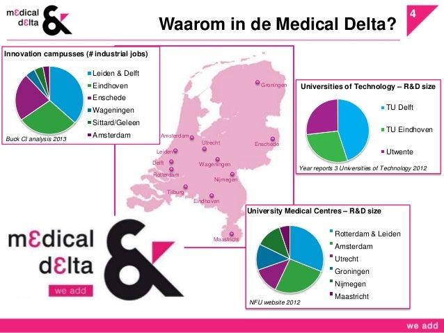 4  Waarom in de Medical Delta?  Groningen  Enschede  Wageningen  Nijmegen  Eindhoven  Amsterdam  Leiden  Rotterdam  Tilbur...
