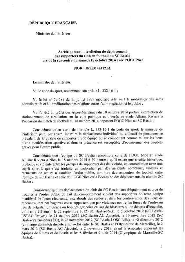 Arrêté ministériel Nice - Bastia