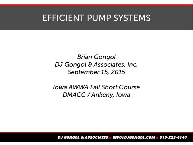 EFFICIENT PUMP SYSTEMS Brian Gongol DJ Gongol & Associates, Inc. September 15, 2015 Iowa AWWA Fall Short Course DMACC / An...