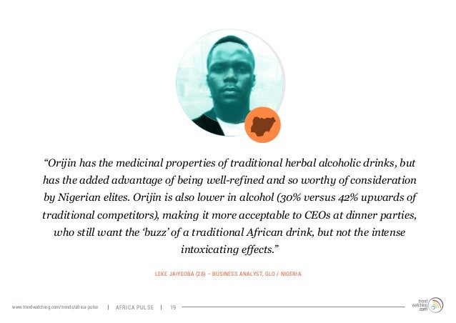 """""""Orijin has the medicinal properties of traditional herbal alcoholic drinks, but  has the added advantage of being well-re..."""