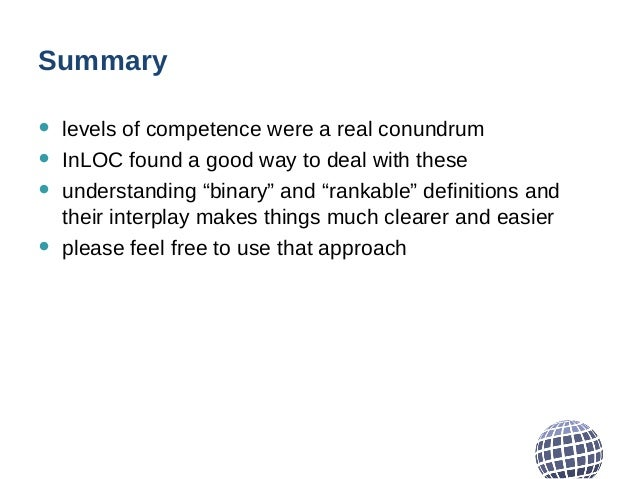 """Summary • levels of competence were a real conundrum • InLOC found a good way to deal with these • understanding """"binary"""" ..."""