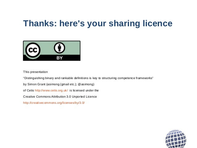 """Thanks: here's your sharing licence This presentation """"Distinguishing binary and rankable definitions is key to structurin..."""