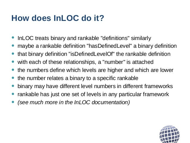 """How does InLOC do it? • InLOC treats binary and rankable """"definitions"""" similarly • maybe a rankable definition """"hasDefined..."""