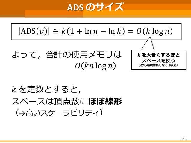 ADS のサイズ ADS푣≅푘1+ln푛−ln푘=푂푘log푛  よって,合計の使用メモリは  푂푘푛log푛  푘を定数とすると,  スペースは頂点数にほぼ線形  (→高いスケーラビリティ)  25  풌を大きくするほど  スペースを使う  ...