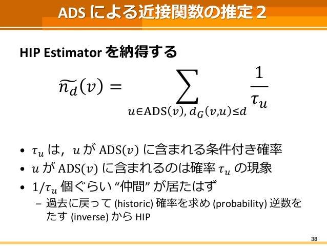 """ADS による近接関数の推定2  HIP Estimatorを納得する  푛푑푣= 푢∈ADS푣,푑퐺푣,푢≤푑 1 휏푢  •휏푢は,푢がADS푣に含まれる条件付き確率  •푢がADS(푣)に含まれるのは確率휏푢の現象  •1/휏푢個ぐらい""""..."""