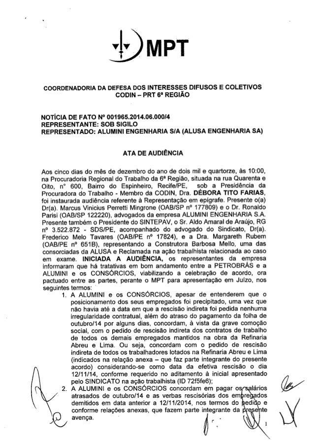 """MPT  COORDENADORIA DA DEFESA DOS INTERESSES DIFUSOS E COLETIVOS  CODIN - PRT 6"""" REGIÃO  NOTíCIA DE FATO N° 001965.2014.06...."""