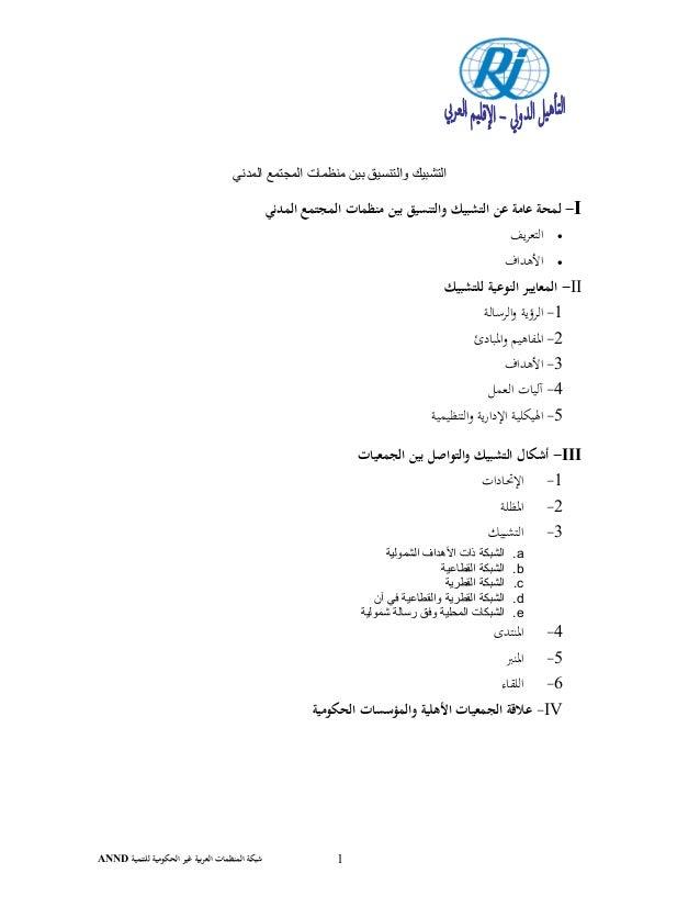 ﻟﻠﺘﻨﻤﻴﺔ اﻟﺤﻜﻮﻣﻴﺔ ﻏﻴﺮ ﺑﻴﺔﺮاﻟﻌ اﻟﻤﻨﻈﻤﺎت ﺷﺒﻜﺔANND 1 المدني المجتمع منظمات بين والتنسيق التشبيك I-...