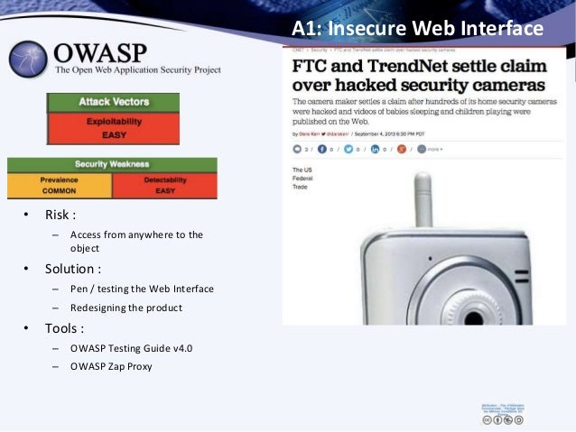 A1: Insecure Web Interface • Risk : – Access from anywhere to the object • Solution : – Pen / testing the Web Interface – ...