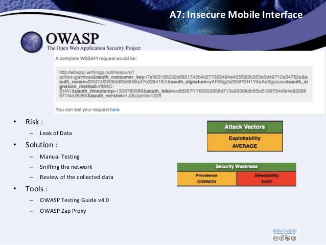 A7: Insecure Mobile Interface • Risk : – Leak of Data • Solution : – Manual Testing – Sniffing the network – Review of the...