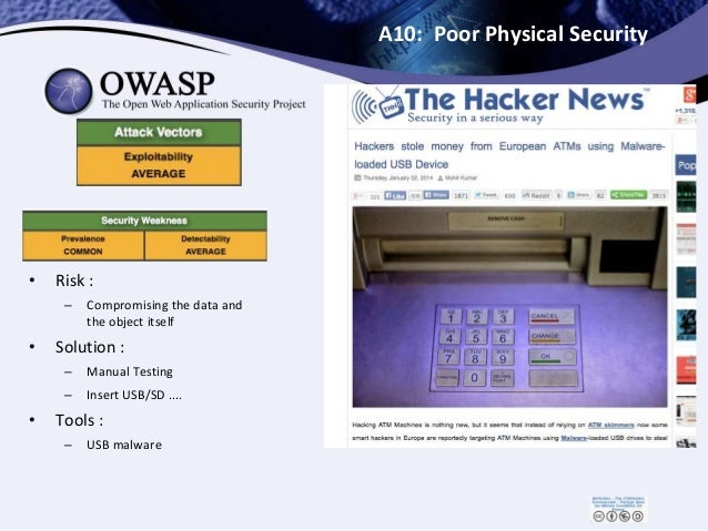A10: Poor Physical Security • Risk : – Compromising the data and the object itself • Solution : – Manual Testing – Insert ...
